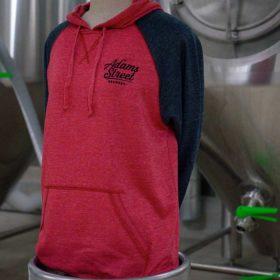 Adams Street Brewery Merchandise: two-tone, Hooded Sweatshirt available for purchase.
